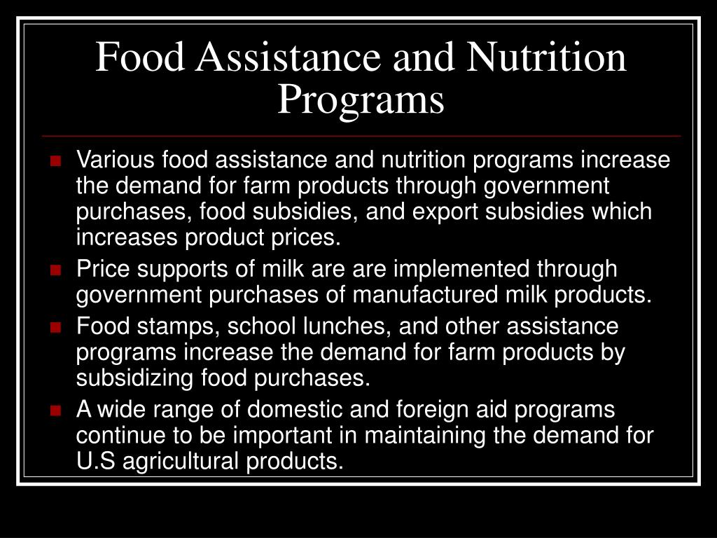 Food Assistance and Nutrition Programs