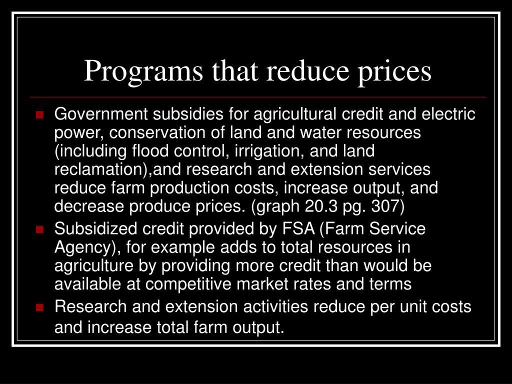 Programs that reduce prices