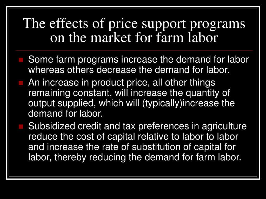 The effects of price support programs on the market for farm labor