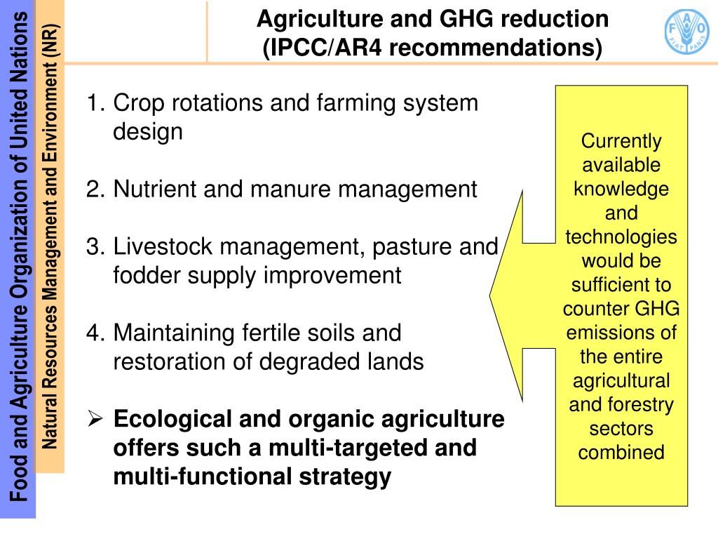 Agriculture and GHG reduction