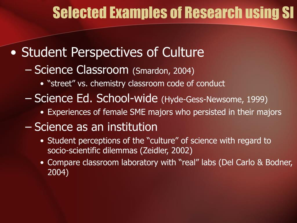 Selected Examples of Research using SI