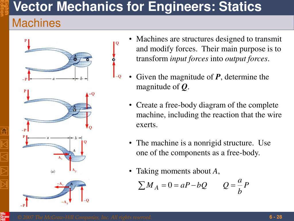 Machines are structures designed to transmit and modify forces.  Their main purpose is to transform