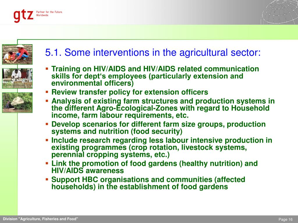 5.1. Some interventions in the agricultural sector: