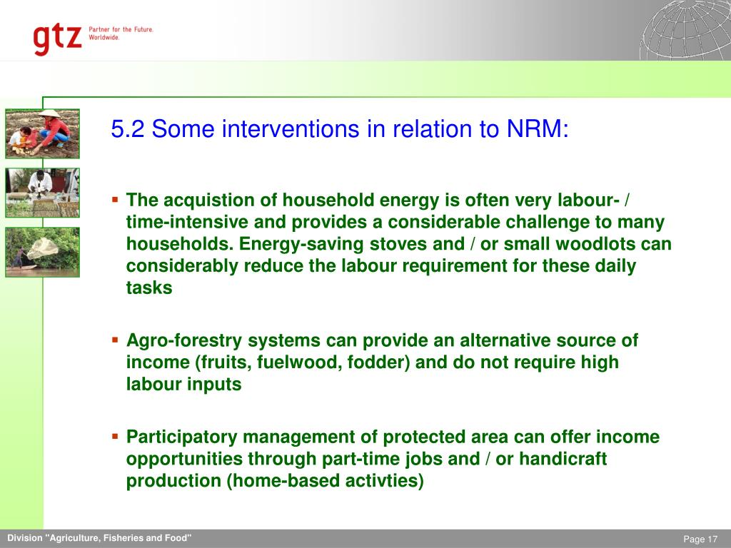 5.2 Some interventions in relation to NRM: