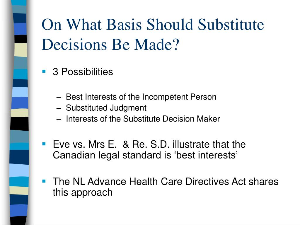 On What Basis Should Substitute Decisions Be Made?