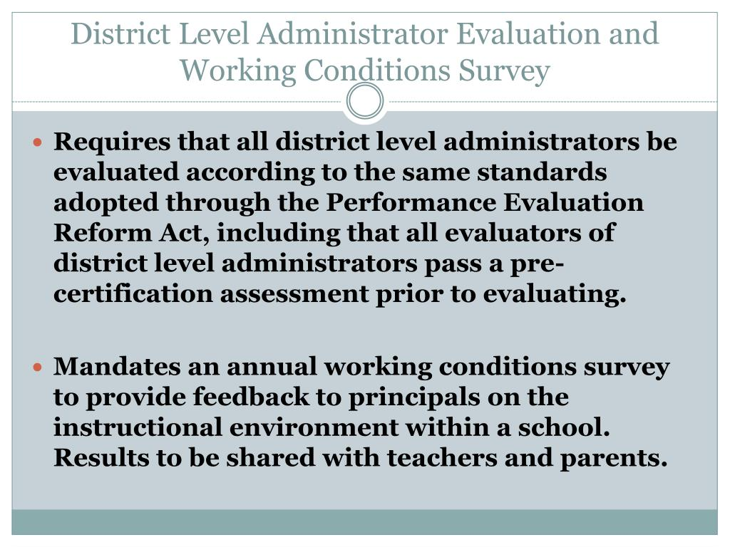 District Level Administrator Evaluation and Working Conditions Survey