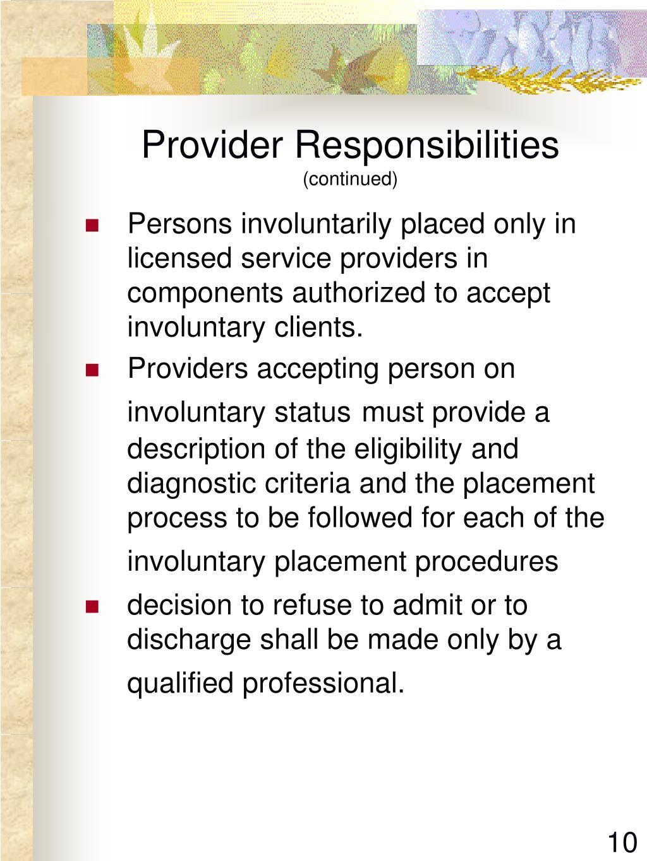 Provider Responsibilities