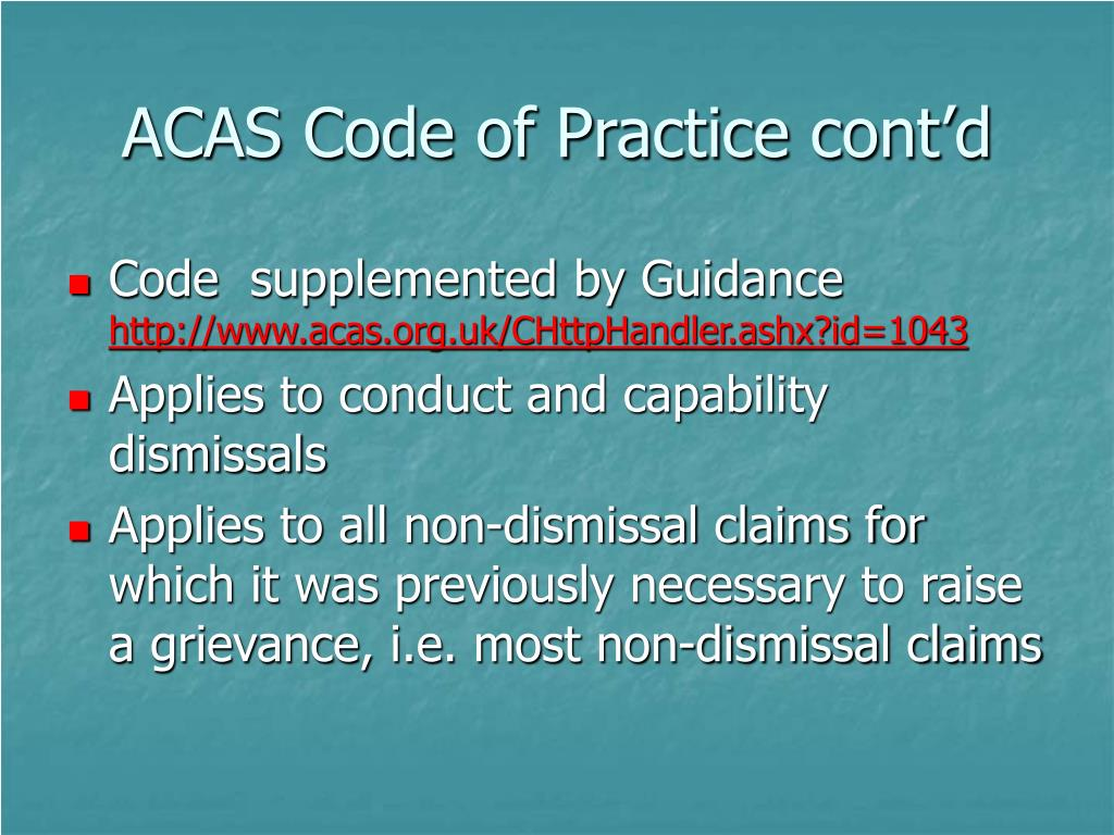 ACAS Code of Practice cont'd
