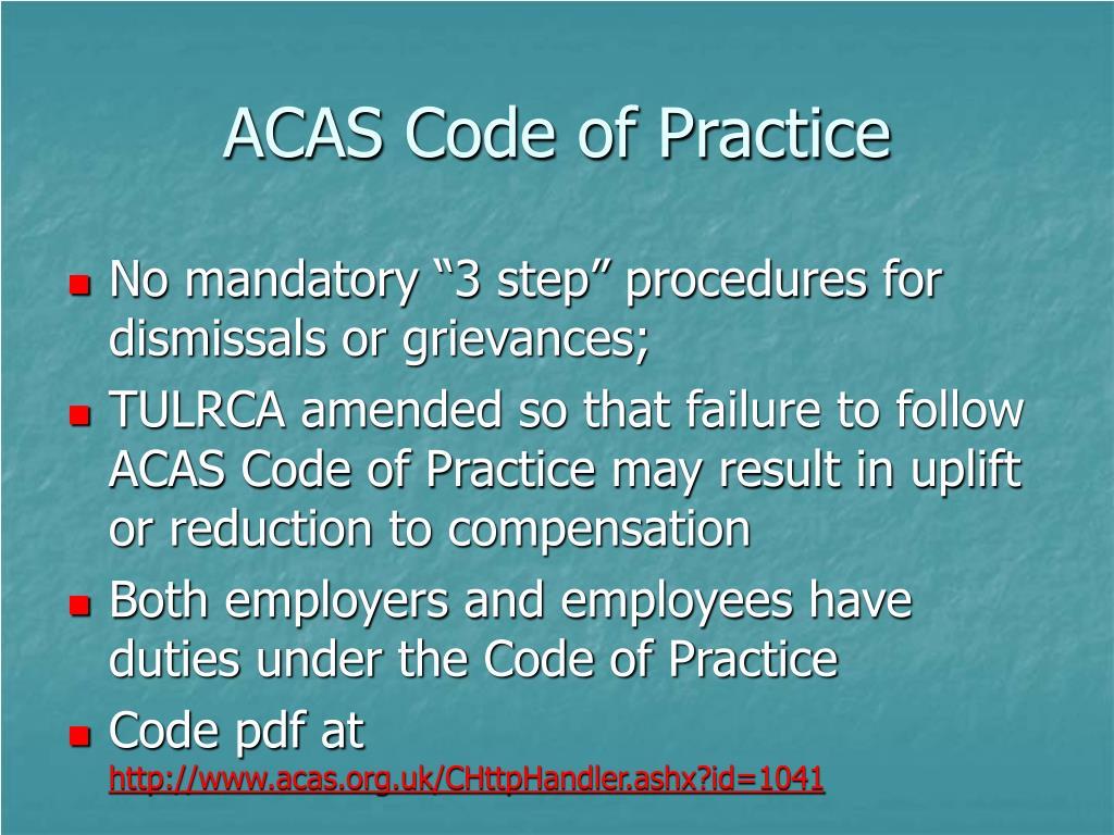 ACAS Code of Practice