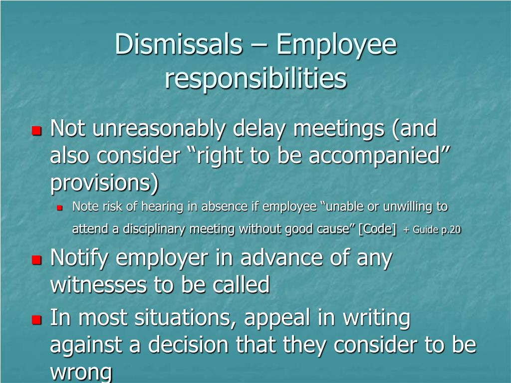 Dismissals – Employee responsibilities