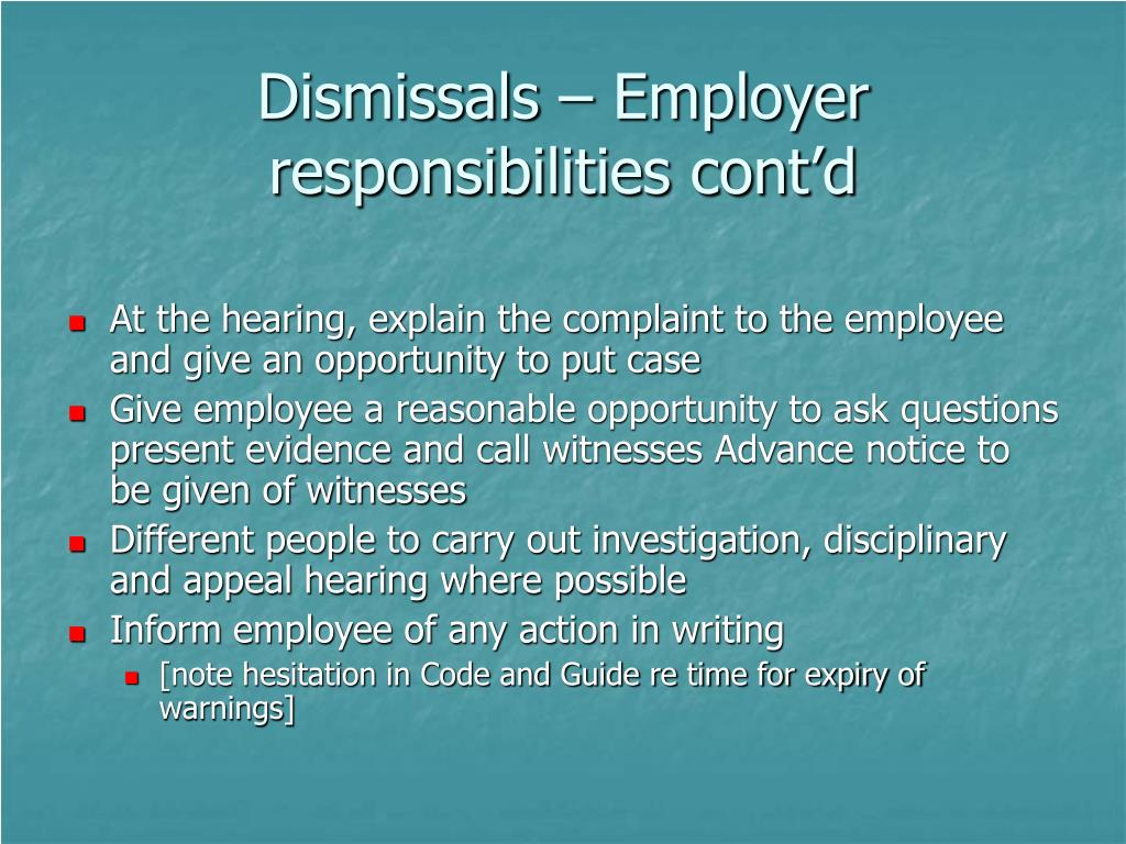 Dismissals – Employer responsibilities cont'd
