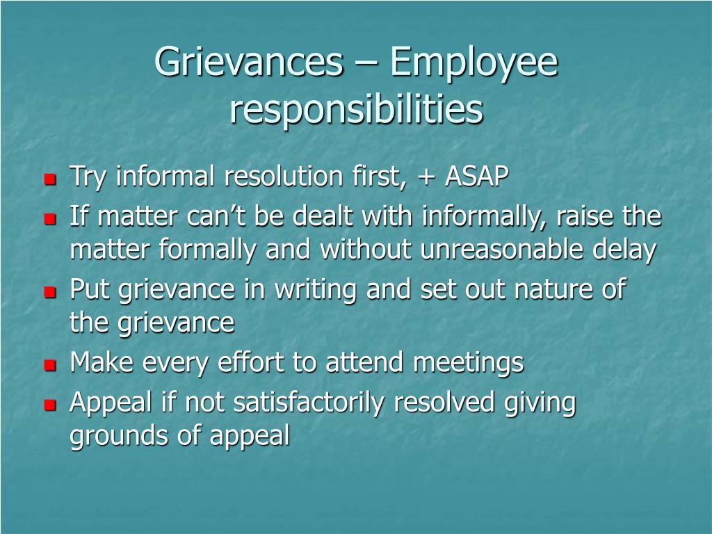 Grievances – Employee responsibilities