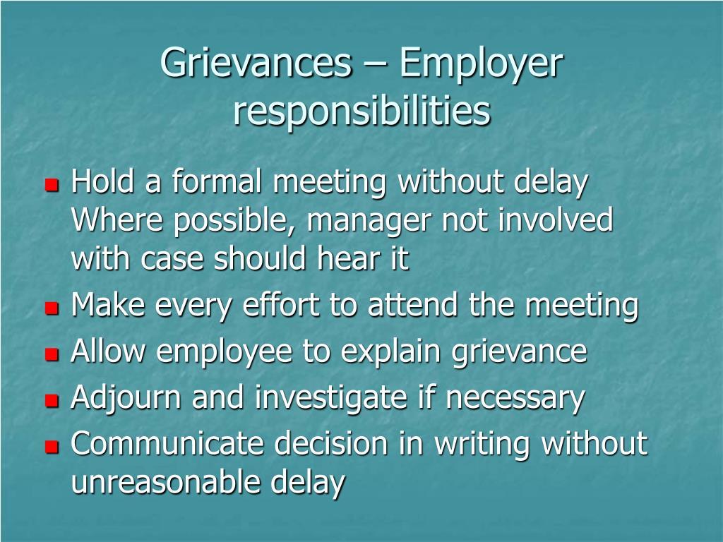 Grievances – Employer responsibilities