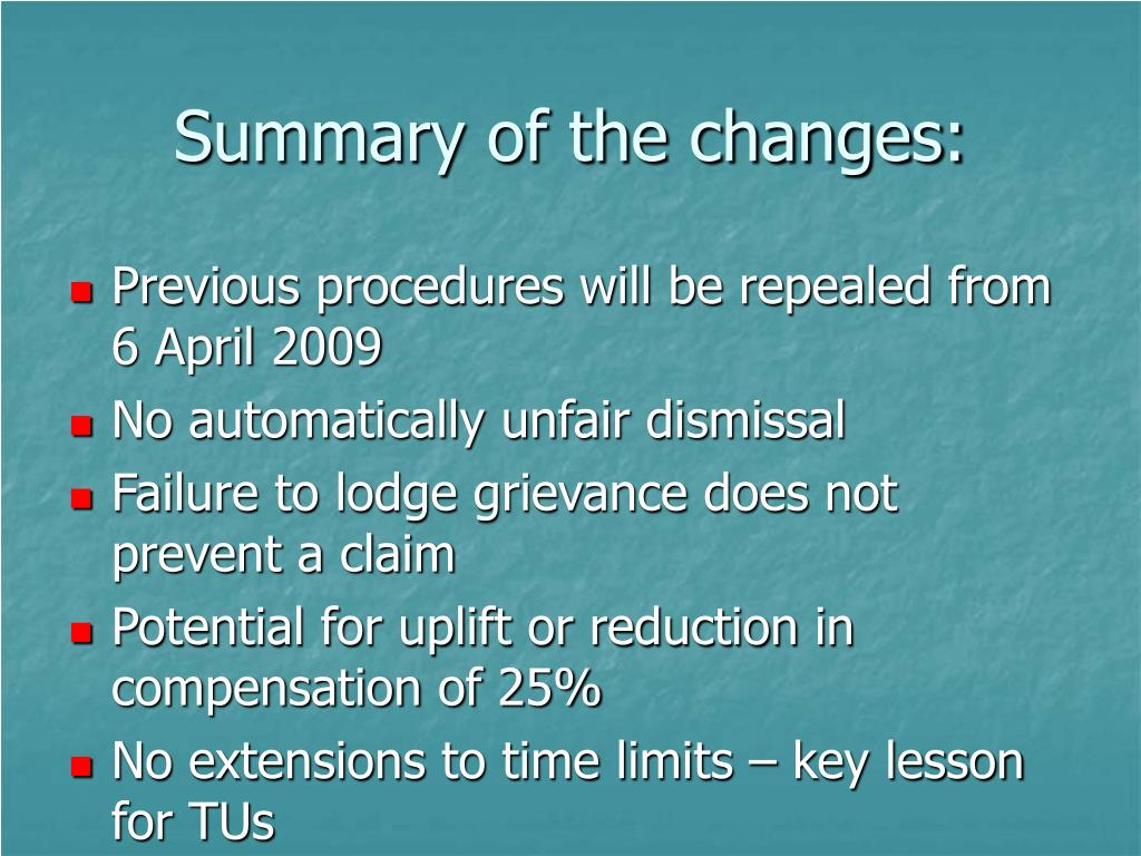 Summary of the changes: