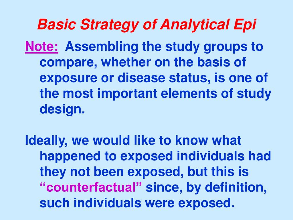 Basic Strategy of Analytical Epi