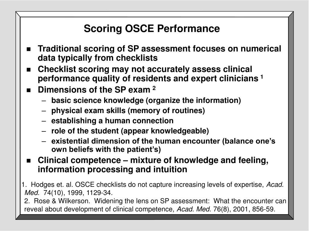 Scoring OSCE Performance