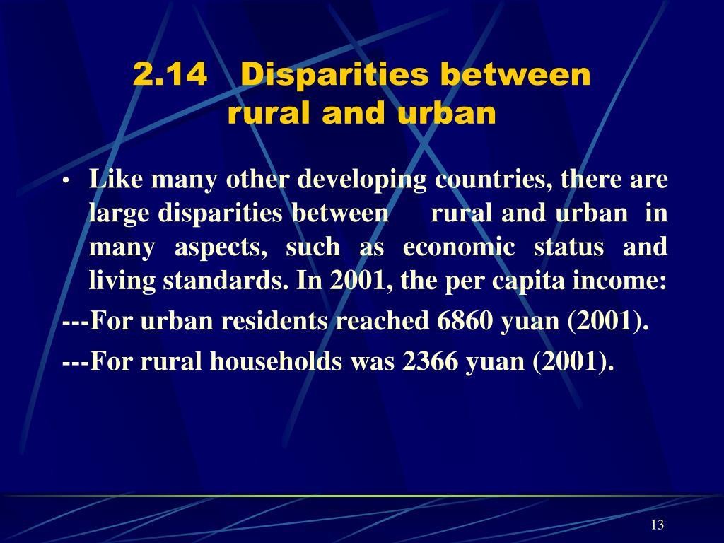 2.14   Disparities between
