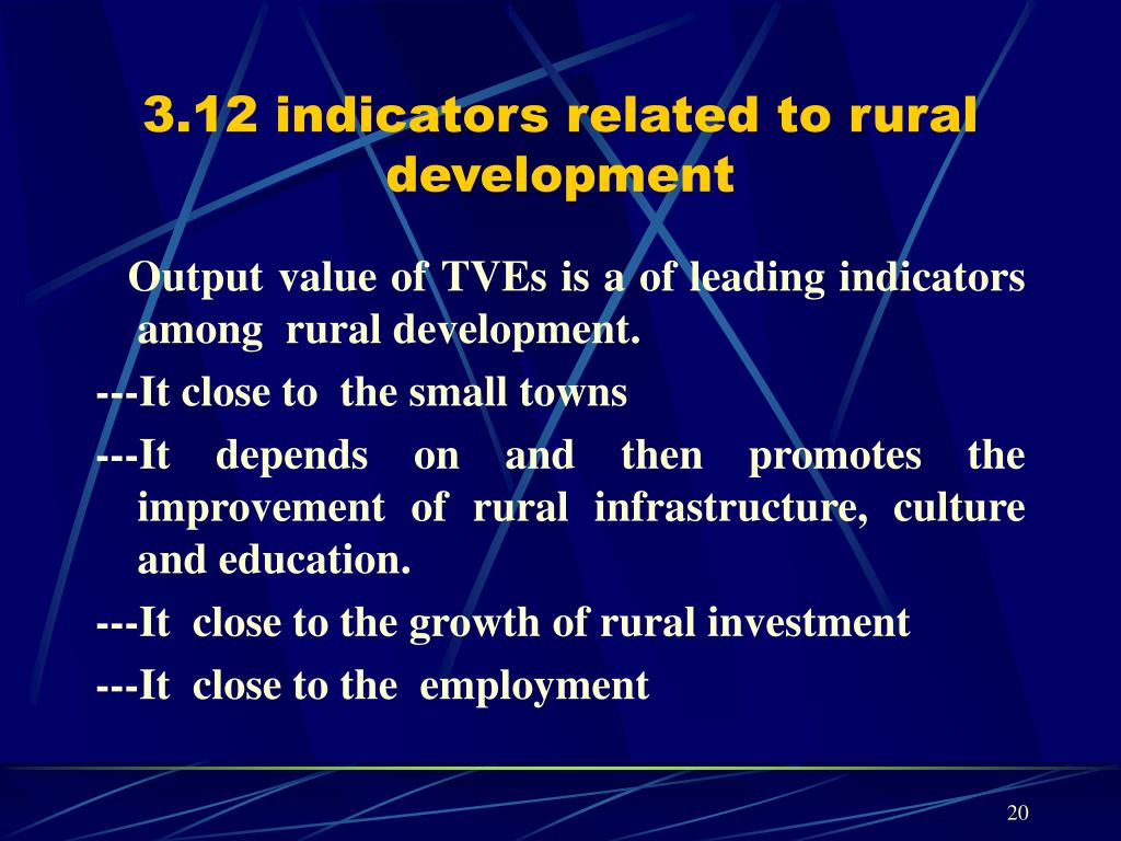 3.12 indicators related to rural