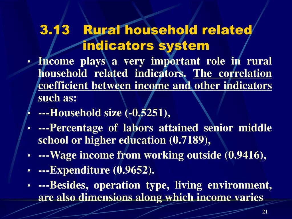 3.13   Rural household related indicators system