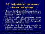 5 3 indicators of the census and current surveys