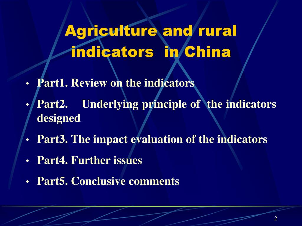 Agriculture and rural indicators  in China