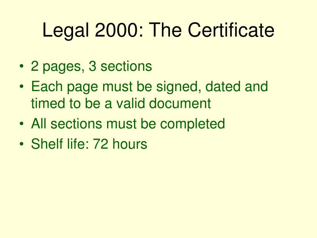 Legal 2000: The Certificate