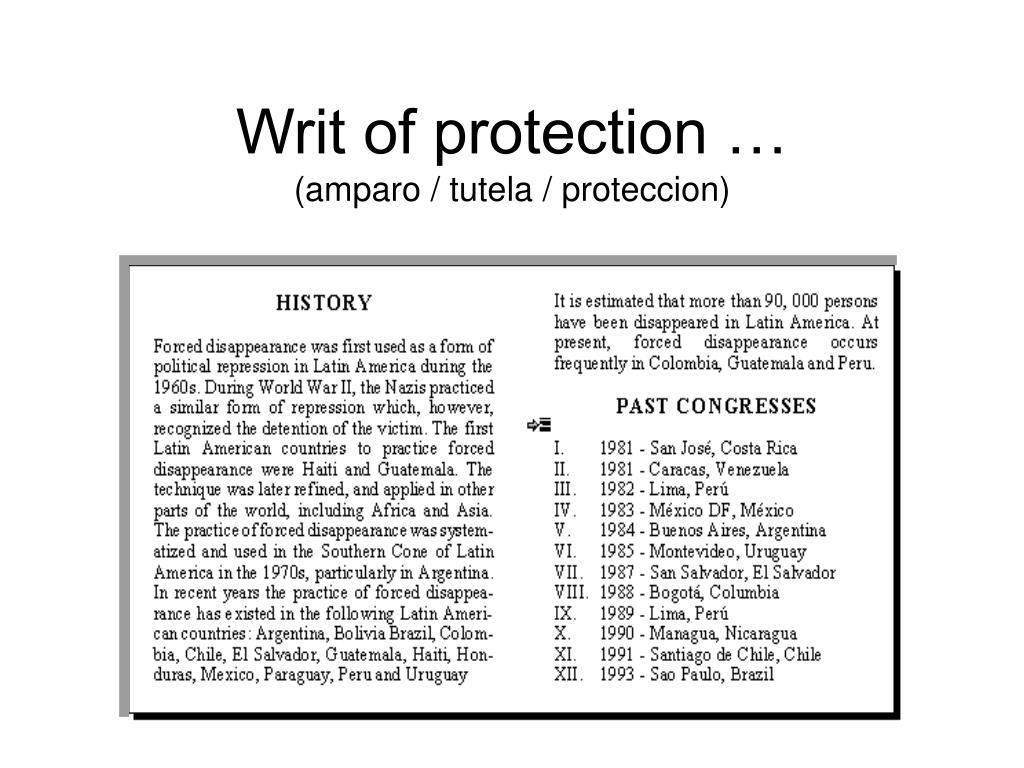 Writ of protection …
