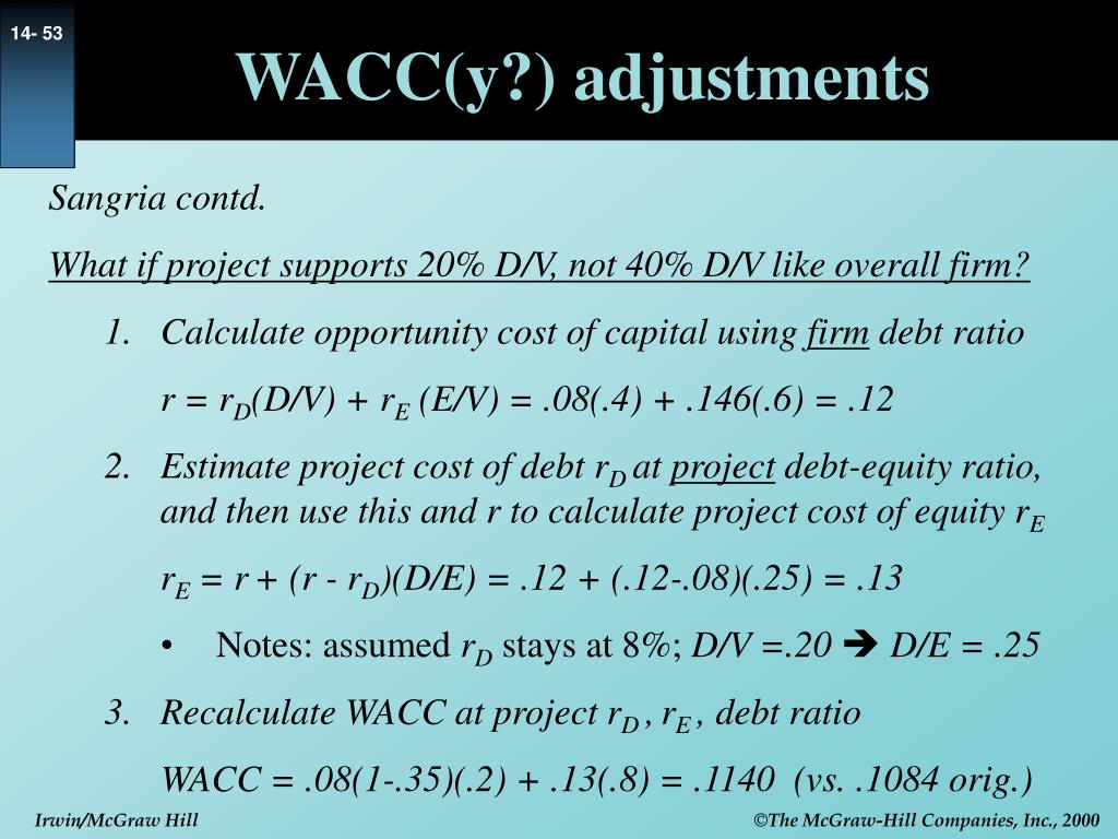 WACC(y?) adjustments