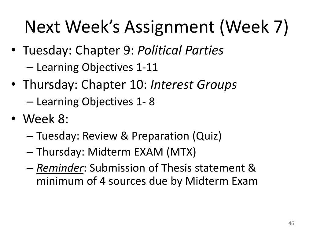 Next Week's Assignment (Week 7)