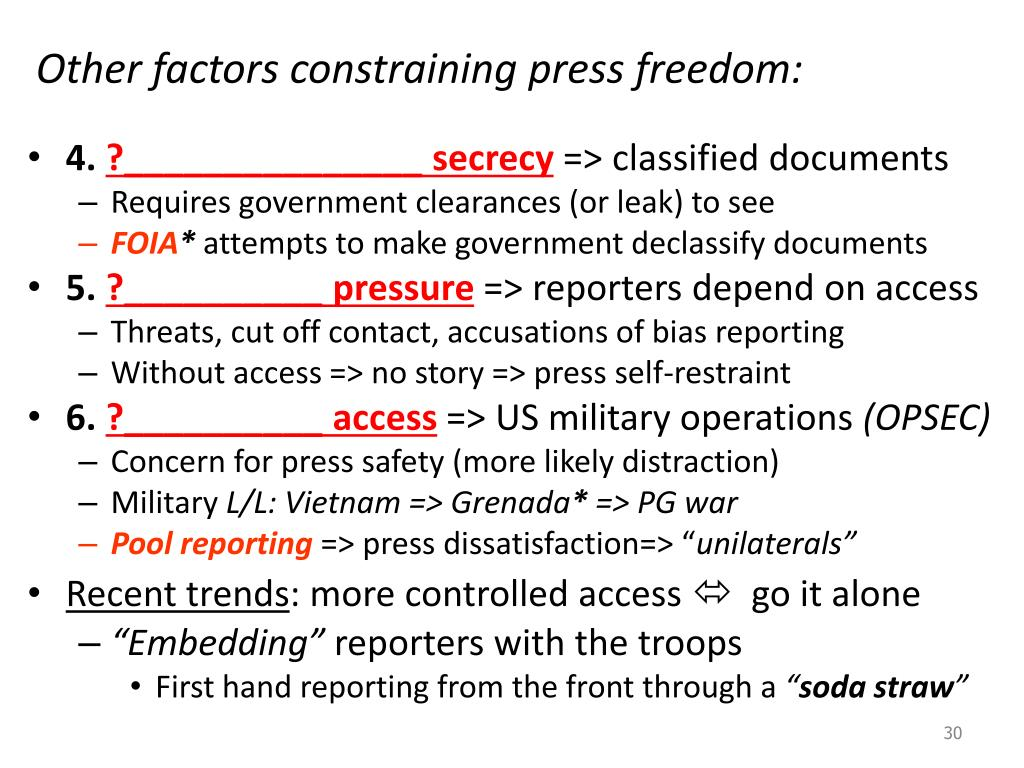 Other factors constraining press freedom: