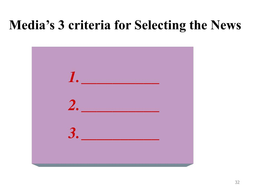 Media's 3 criteria for Selecting the News