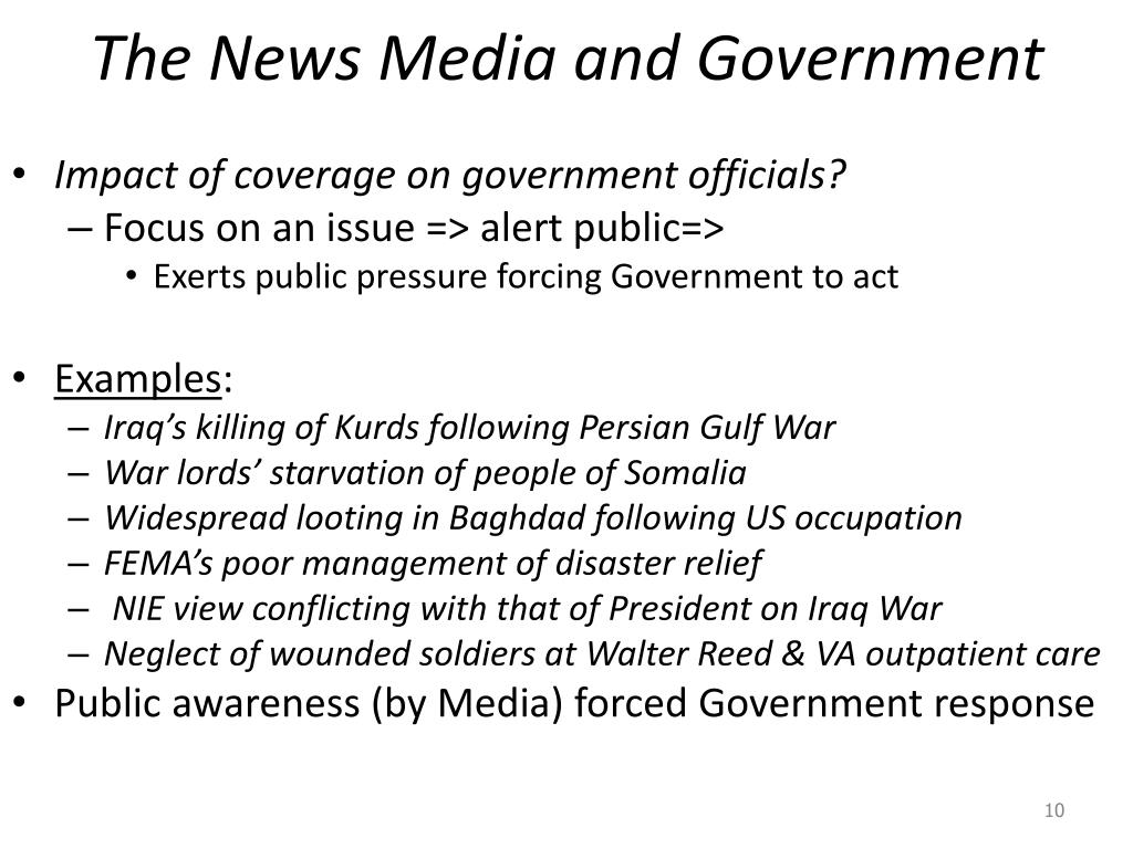 The News Media and Government