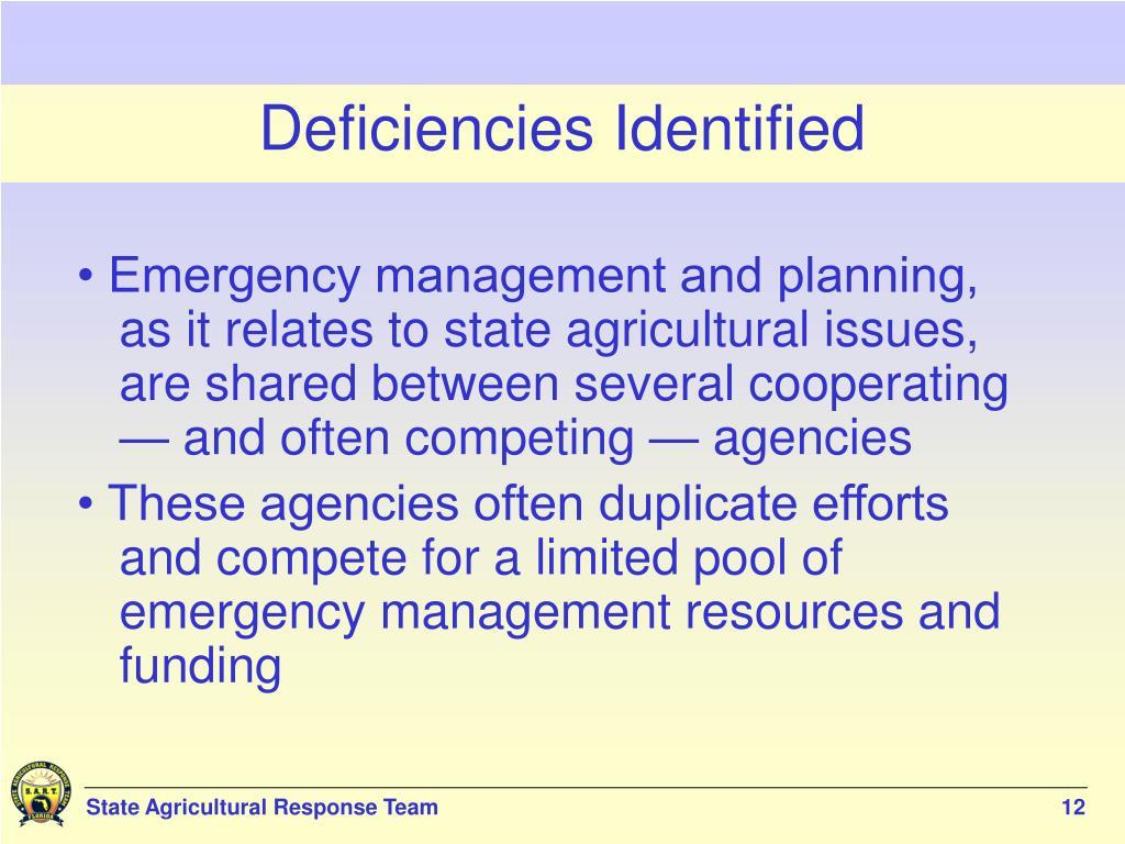 Deficiencies Identified
