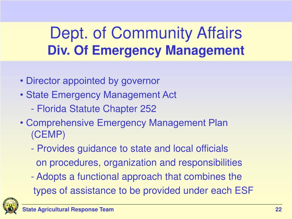 Dept. of Community Affairs