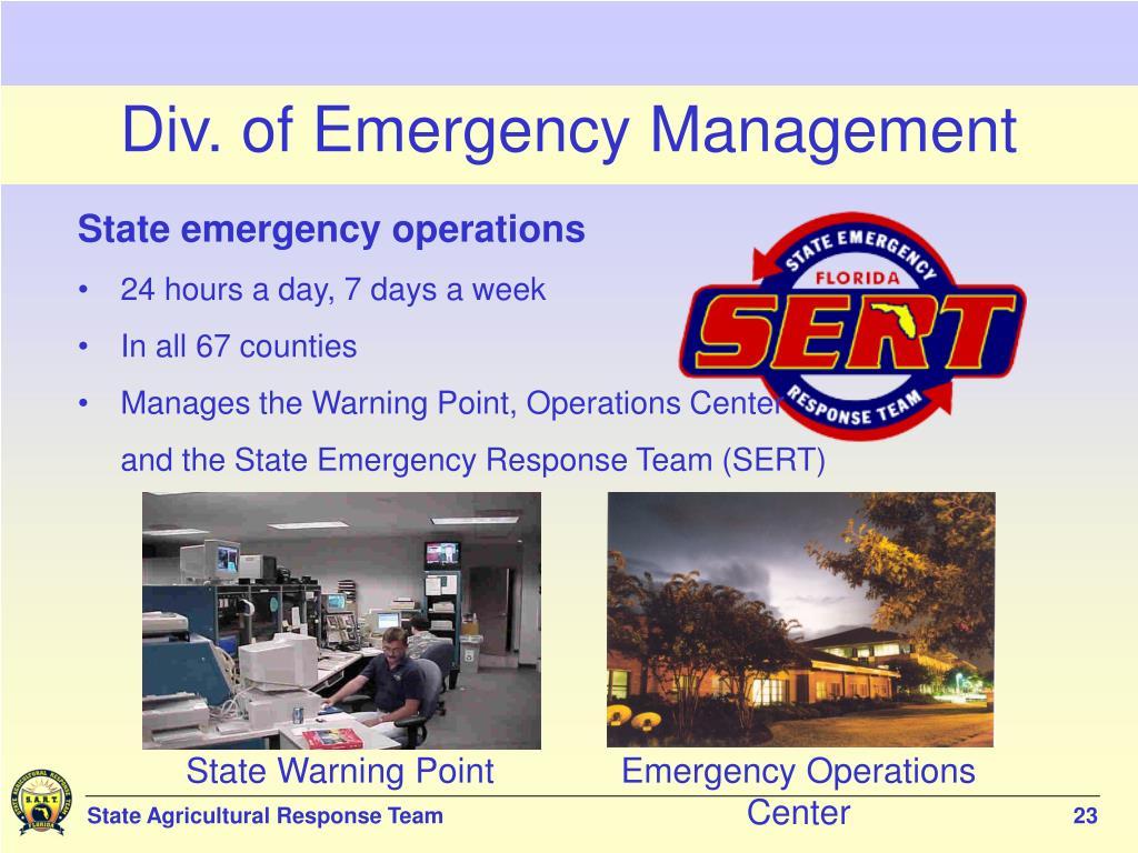 Div. of Emergency Management