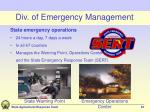 div of emergency management