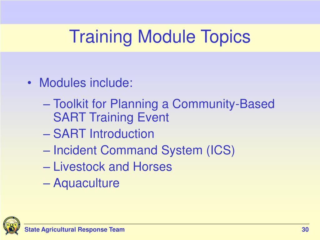 Training Module Topics