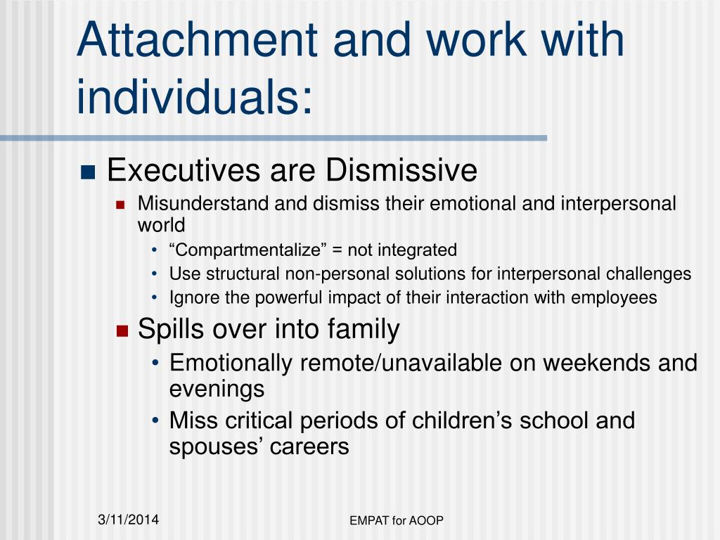Attachment and work with individuals: