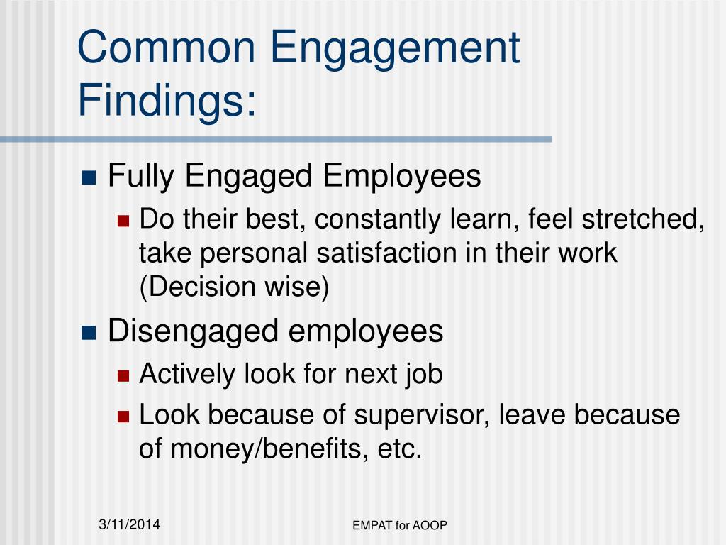Common Engagement Findings: