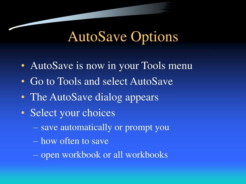 AutoSave Options