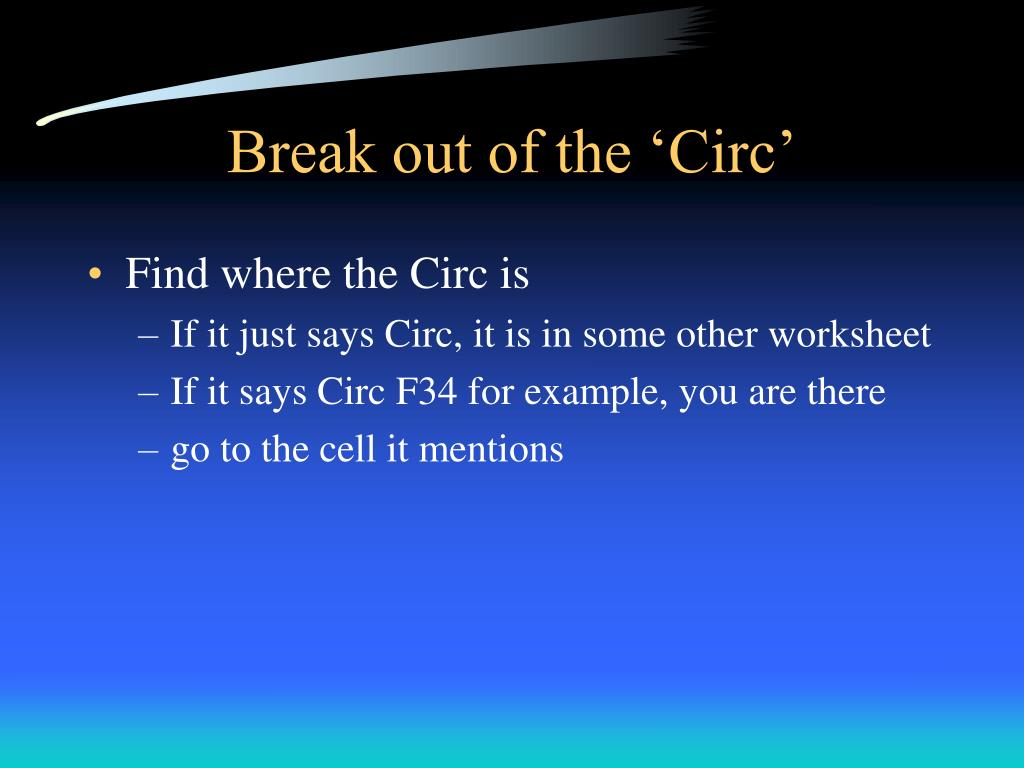 Break out of the 'Circ'