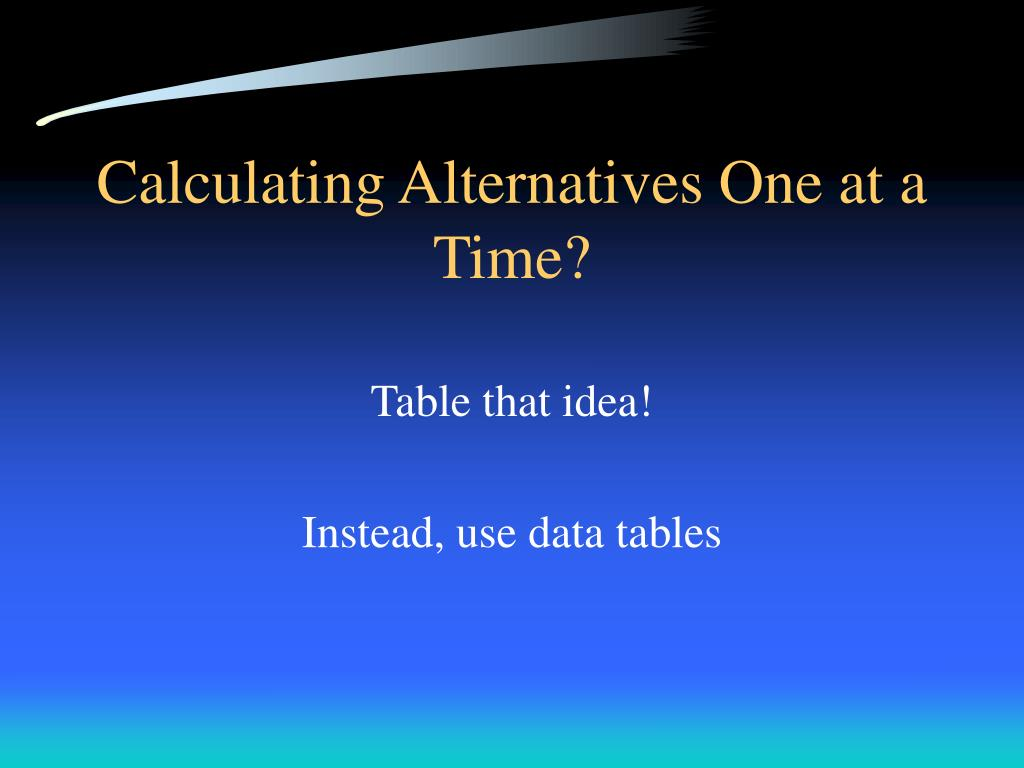 Calculating Alternatives One at a Time?