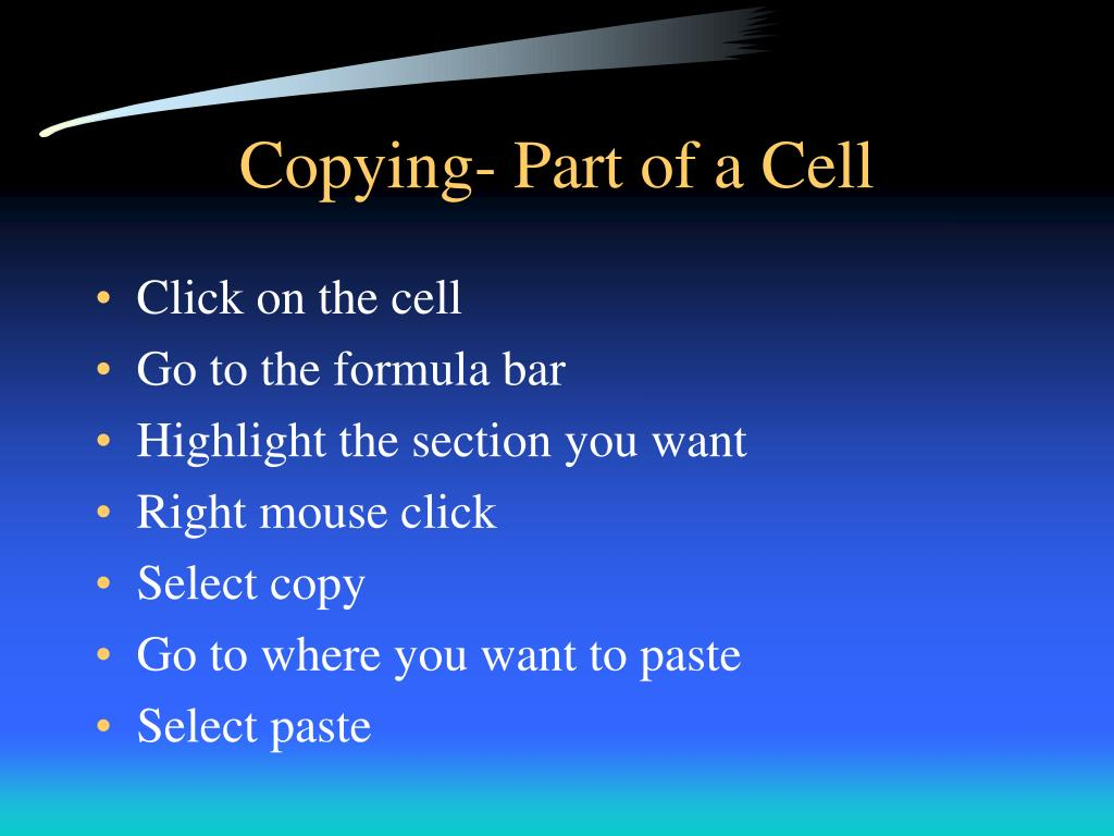 Copying- Part of a Cell