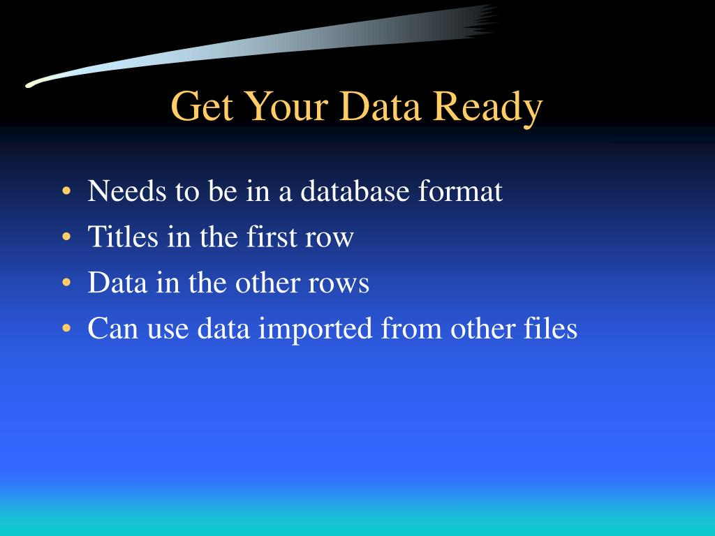 Get Your Data Ready