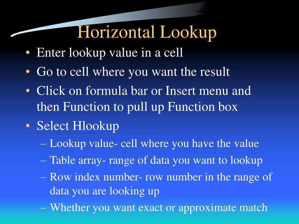 Horizontal Lookup