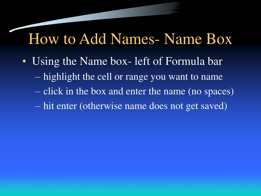 How to Add Names- Name Box