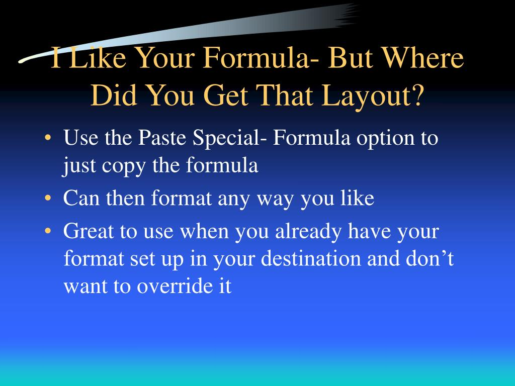 I Like Your Formula- But Where Did You Get That Layout?
