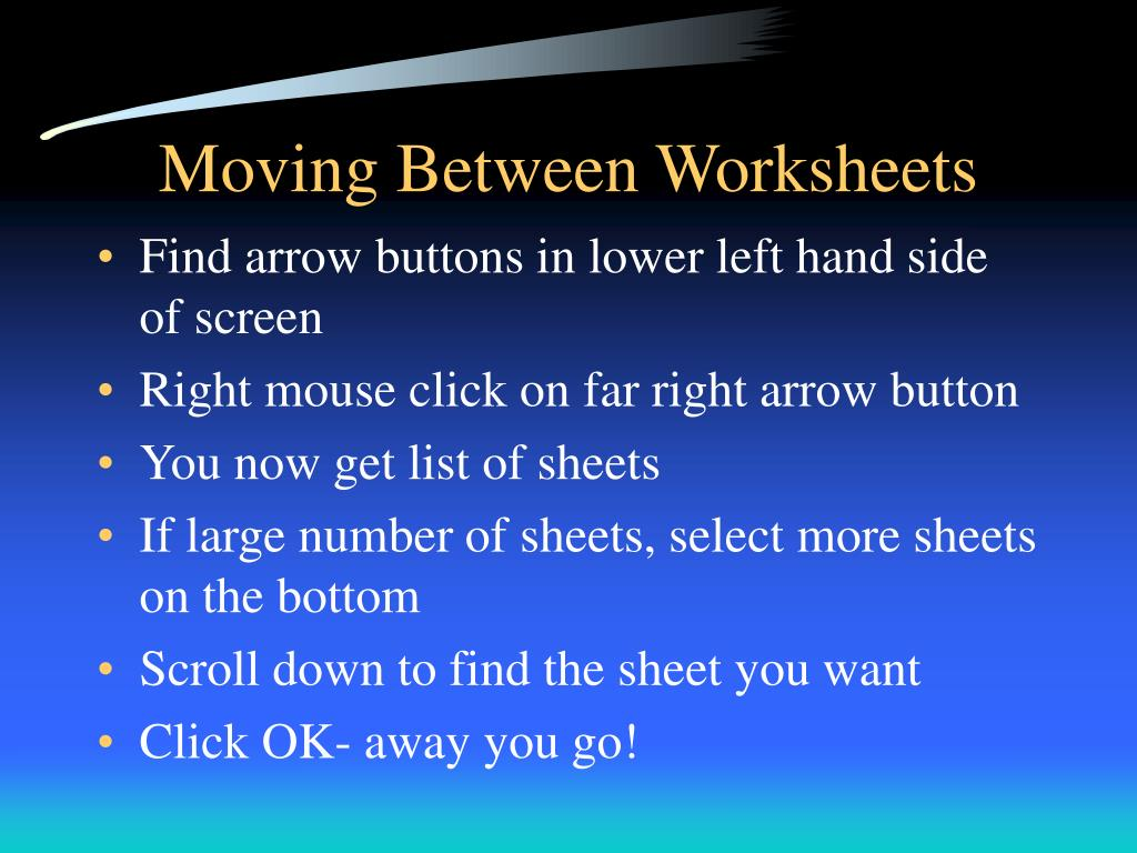 Moving Between Worksheets