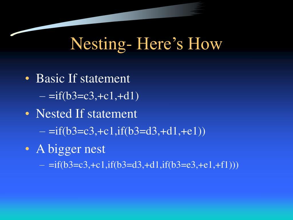 Nesting- Here's How