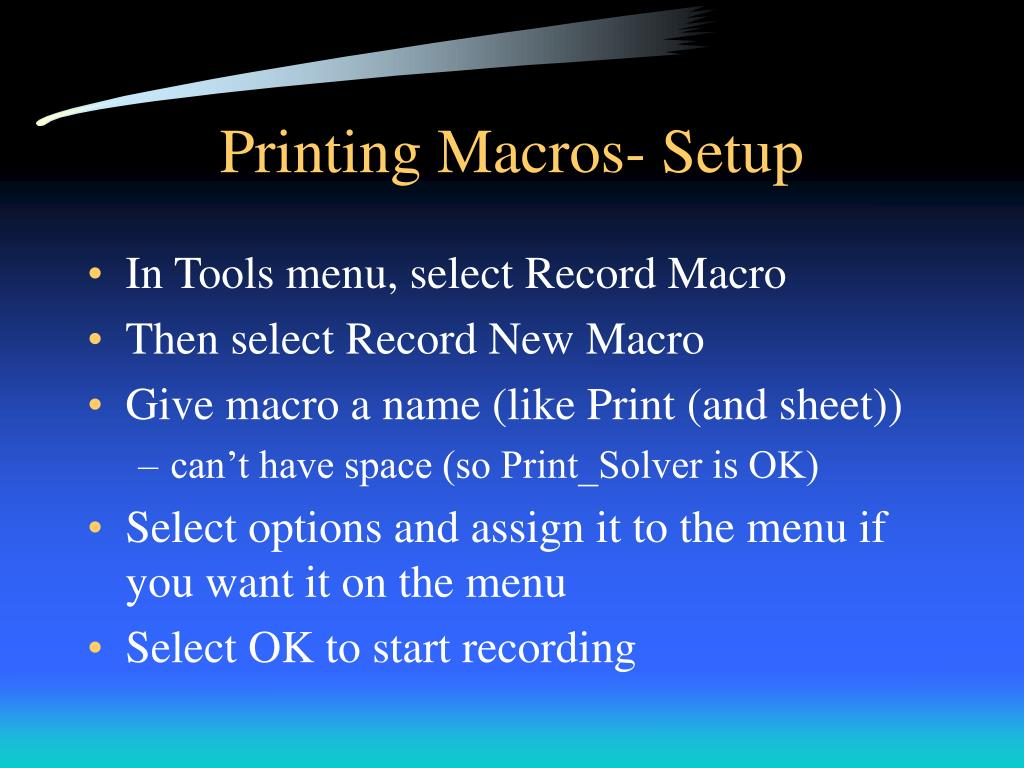 Printing Macros- Setup